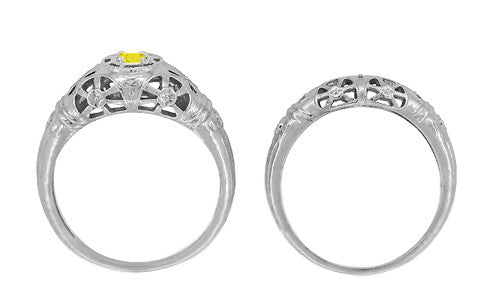 Art Deco Filigree Yellow Sapphire Ring in 14 Karat White Gold - Item: R428WYES - Image: 8