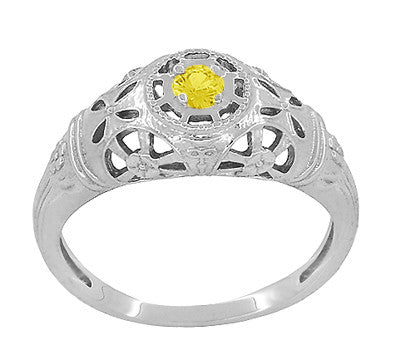 Art Deco Filigree Yellow Sapphire Ring in 14 Karat White Gold - Item: R428WYES - Image: 1