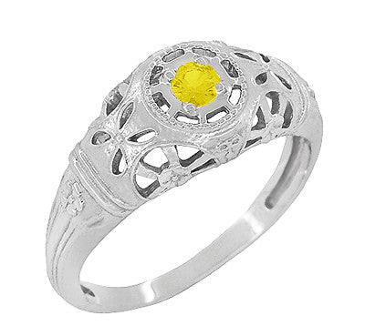 Art Deco Filigree Yellow Sapphire Ring in 14 Karat White Gold
