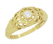 Filigree Dome Open Flowers Diamond Engagement Ring in 14K Yellow Gold