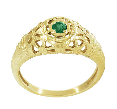 Art Deco Filigree Emerald Ring in 14 Karat Yellow Gold - Item: R428YE - Image: 2