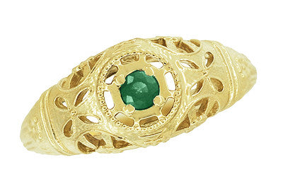 Art Deco Filigree Emerald Ring in 14 Karat Yellow Gold - Item: R428YE - Image: 3