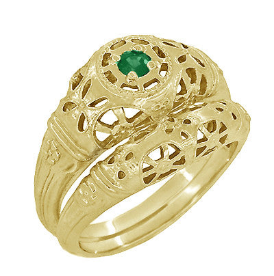 Art Deco Filigree Emerald Ring in 14 Karat Yellow Gold - Item: R428YE - Image: 4