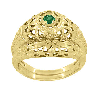 Art Deco Filigree Emerald Ring in 14 Karat Yellow Gold - Item: R428YE - Image: 5