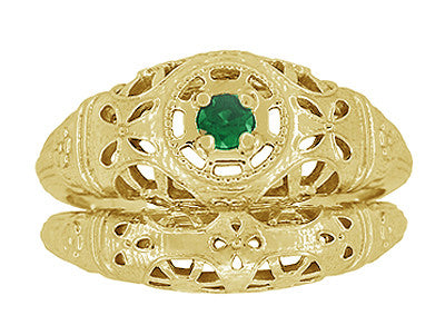 Art Deco Filigree Emerald Ring in 14 Karat Yellow Gold - Item: R428YE - Image: 6