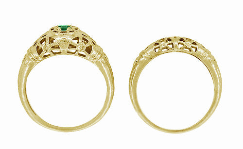 Art Deco Filigree Emerald Ring in 14 Karat Yellow Gold - Item: R428YE - Image: 7