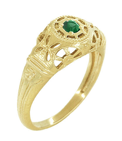 Art Deco Filigree Emerald Ring in 14 Karat Yellow Gold - Item: R428YE - Image: 1