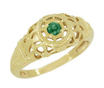 Art Deco Filigree Emerald Ring in 14 Karat Yellow Gold