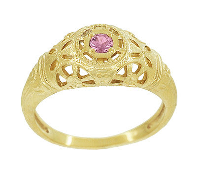 Art Deco Filigree Pink Sapphire Ring in 14 Karat Yellow Gold - Item: R428YPS - Image: 2