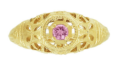 Art Deco Filigree Pink Sapphire Ring in 14 Karat Yellow Gold - Item: R428YPS - Image: 3