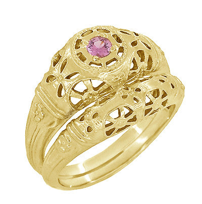 Art Deco Filigree Pink Sapphire Ring in 14 Karat Yellow Gold - Item: R428YPS - Image: 4