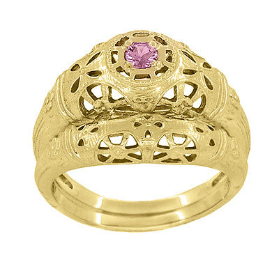 Art Deco Filigree Pink Sapphire Ring in 14 Karat Yellow Gold - Item: R428YPS - Image: 5