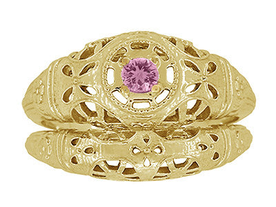 Art Deco Filigree Pink Sapphire Ring in 14 Karat Yellow Gold - Item: R428YPS - Image: 6