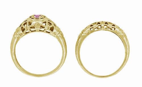 Art Deco Filigree Pink Sapphire Ring in 14 Karat Yellow Gold - Item: R428YPS - Image: 7