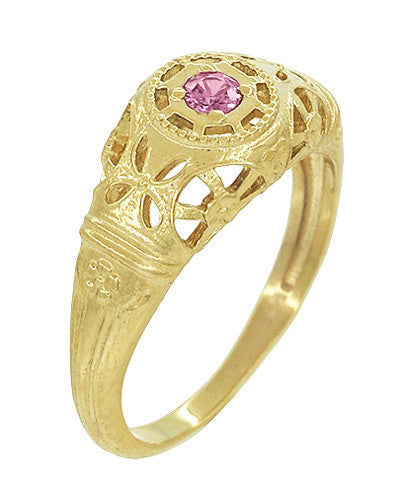 Art Deco Filigree Pink Sapphire Ring in 14 Karat Yellow Gold - Item: R428YPS - Image: 1