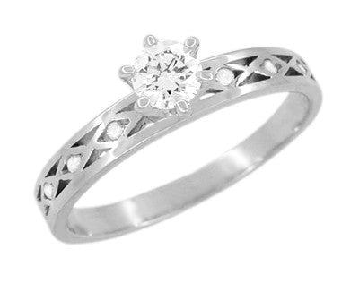 Happy White Sapphire Engagement Ring in 14 Karat White Gold