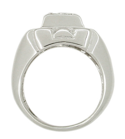 Vintage Mid Century Men's Diamond Ring in 14 Karat White Gold - Item: R431 - Image: 1