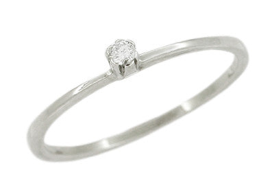 Vintage Diamond Solitaire Promise Ring in 10 Karat White Gold