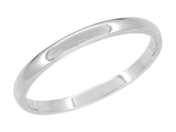2mm Platinum Wedding Band - Domed High Polish - Size 8