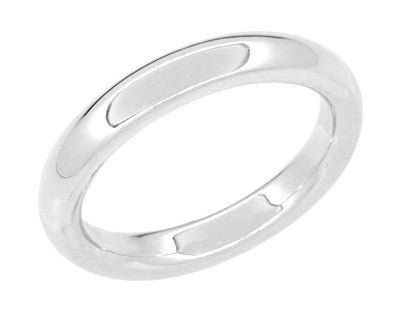 "Size 4 - Women's 3 mm Heavy ""Comfortable Fit"" Wedding Band in 14 Karat White Gold"