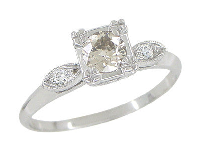 Retro Moderne 14 Karat White Gold Antique Diamond Engagement Ring - Item: R445 - Image: 1