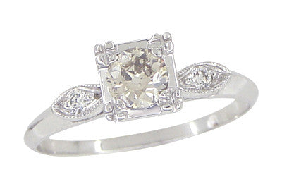 Retro Moderne 14 Karat White Gold Antique Diamond Engagement Ring