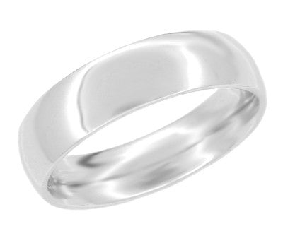 Heavy 6 mm Comfort Fit Wedding Band Ring in 14K White Gold | Ring Sizes 12 and 12.5