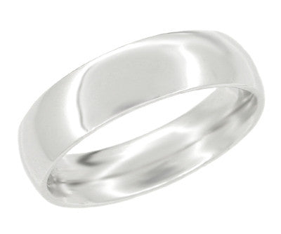 "6 mm ""Comfortable Fit"" Platinum Wedding Band Ring"