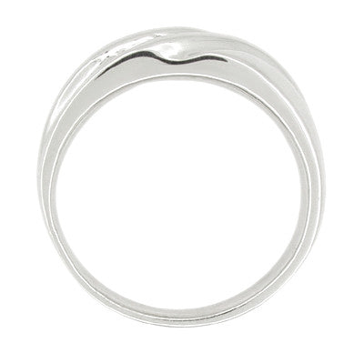 Vintage Retro Moderne Men's Diamond Set Wave Ring in 14 Karat White Gold - Item: R450 - Image: 1