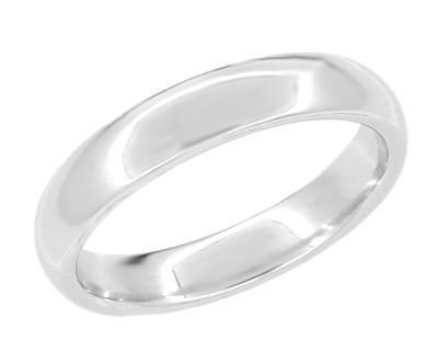 "Size 11 - 4mm Heavy ""Comfortable Fit"" Wedding Band Ring in 14 Karat White Gold"
