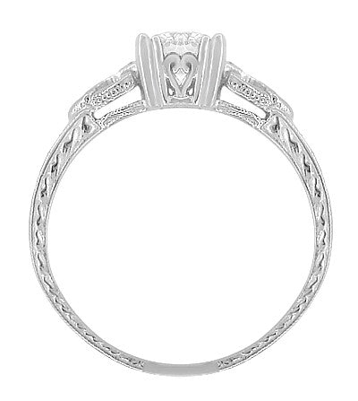 Art Deco Loving Hearts 1/2 Carat Diamond Antique Style Engraved Engagement Ring in 18 Karat White Gold - Item: R459DR - Image: 2