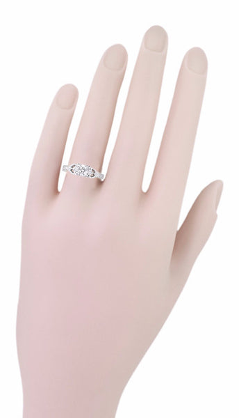 Art Deco Loving Hearts 1/2 Carat Diamond Antique Style Engraved Engagement Ring in 18 Karat White Gold - Item: R459DR - Image: 5