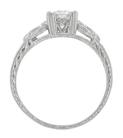 Art Deco Loving Hearts Antique Style Engraved 3/4 Carat Diamond Engagement Ring in 18 Karat White Gold - Item: R459DR75 - Image: 2