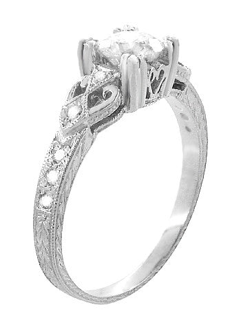 Art Deco Loving Hearts Antique Style Engraved 3/4 Carat Diamond Engagement Ring in 18 Karat White Gold - Item: R459DR75 - Image: 1