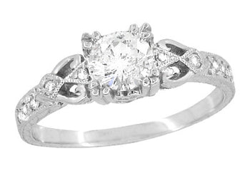 Art Deco Loving Hearts Antique Style Engraved 3/4 Carat Diamond Engagement Ring in 18 Karat White Gold