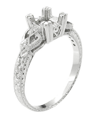 Loving Hearts Art Deco 1 Carat Round or Princess Cut Diamond Engraved Antique Style Platinum Engagement Ring Setting - Item: R459P1 - Image: 2