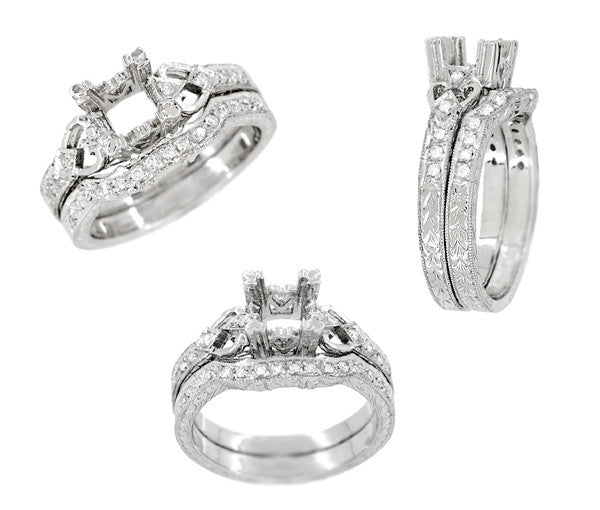 Loving Hearts Art Deco 1 Carat Round or Princess Cut Diamond Engraved Antique Style Platinum Engagement Ring Setting - Item: R459P1 - Image: 3