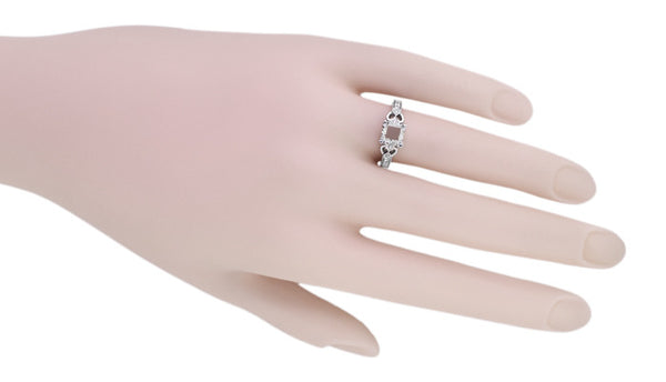 Loving Hearts Art Deco 1 Carat Round or Princess Cut Diamond Engraved Antique Style Platinum Engagement Ring Setting - Item: R459P1 - Image: 4