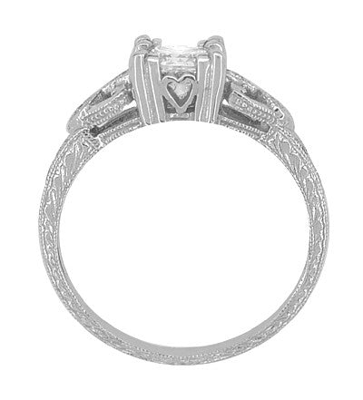 Loving Hearts 3/4 Carat Princess Cut Diamond Antique Style Engraved Platinum Engagement Ring - Item: R459PD - Image: 3