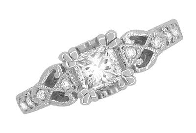 Loving Hearts 3/4 Carat Princess Cut Diamond Antique Style Engraved Platinum Engagement Ring - Item: R459PD - Image: 1