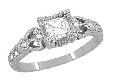 Loving Hearts 3 4 Carat Princess Cut Diamond Antique Style Engraved  Platinum Engagement Ring 5dc2940b0