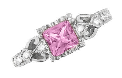 Loving Hearts Princess Cut Pink Sapphire Antique Style Engraved Engagement Ring in Platinum - Item: R459PPS - Image: 3