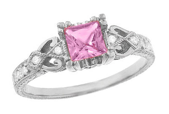 Loving Hearts Princess Cut Pink Sapphire Antique Style Engraved Engagement Ring in Platinum