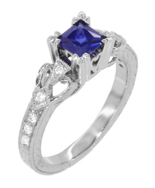 Art Deco Loving Hearts Princess Cut Blue Sapphire Vintage Style Engraved Engagement Ring in Platinum - Item: R459PS - Image: 2
