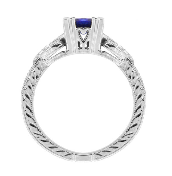 Art Deco Loving Hearts Princess Cut Blue Sapphire Vintage Style Engraved Engagement Ring in Platinum - Item: R459PS - Image: 4