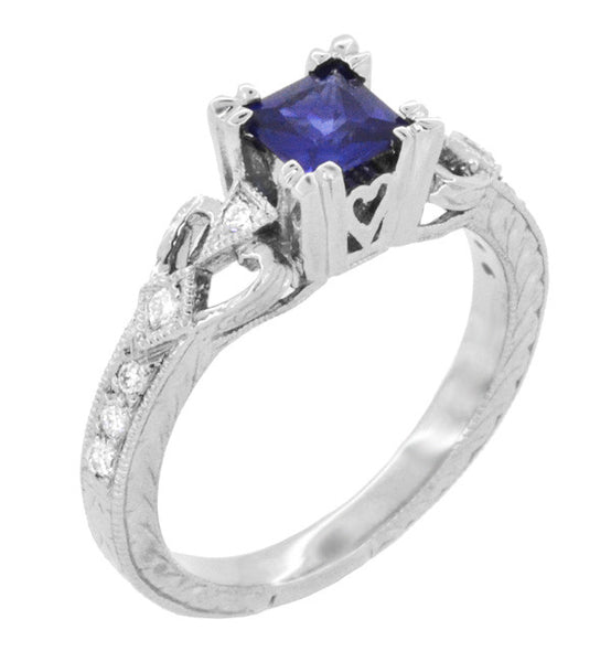 Art Deco Loving Hearts Princess Cut Blue Sapphire Vintage Style Engraved Engagement Ring in Platinum