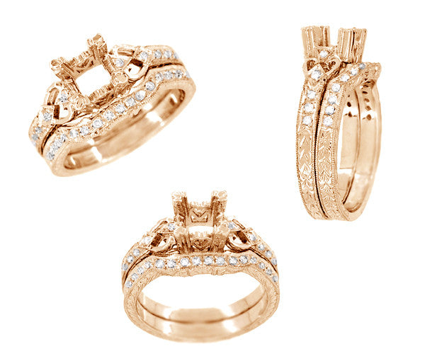 Loving Hearts Art Deco Antique Style Engagement Ring Setting for a 1 Carat Round or Princess Cut Diamond in 14 Karat Rose ( Pink ) Gold - Item: R459R1 - Image: 3