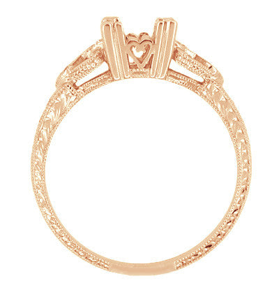 Side of Vintage Rose Gold Art Deco Fishtail Ring Setting with Filigree Hearts and Wheat Pattern Carved on the Band - R459R50