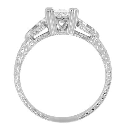 Loving Hearts 1 Carat Princess Cut Diamond Antique Style Engraved Art Deco Engagement Ring in 18K White Gold - Item: R459W1D - Image: 2