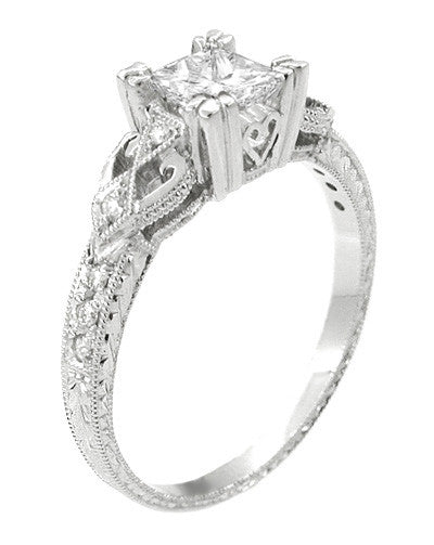 Loving Hearts 1 Carat Princess Cut Diamond Antique Style Engraved Art Deco Engagement Ring in 18K White Gold - Item: R459W1D - Image: 1